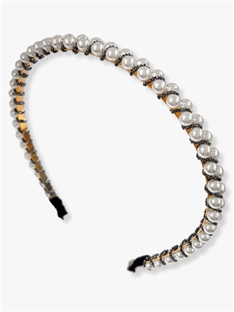 Re Born Mty Pearl Bead Alice Head Band  - Click to view a larger image