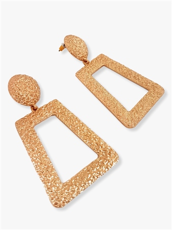 Re Born Gold Textured Door Knocker Earring  - Click to view a larger image