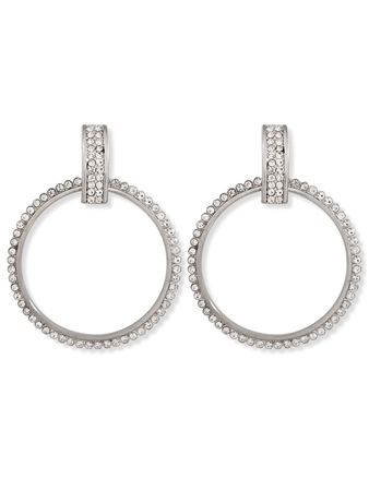 Re Born Silver Pave Drop Hoop Earring  - Click to view a larger image