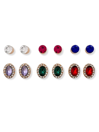 Re Born Multi Rs Jewel Stud 6 Pack Earring  - Click to view a larger image