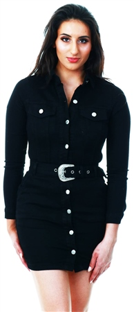 Parisian Black Long Sleeve Button Front Self Belt Stretch Denim D  - Click to view a larger image