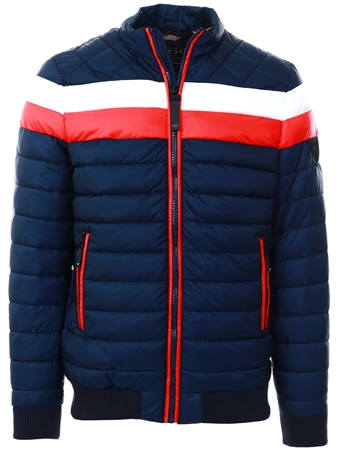 Guess Navy/White/Red Camo Lined Padded Jacket  - Click to view a larger image