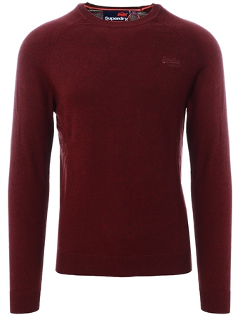 Superdry Buck Burgundy Marl Orange Label Cotton Crew Jumper  - Click to view a larger image