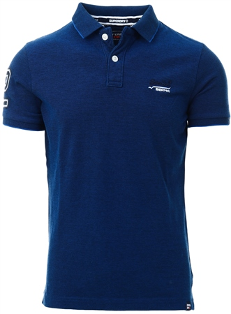 Superdry Royal Blue Grit Classic Pique Short Sleeve Polo Shirt  - Click to view a larger image