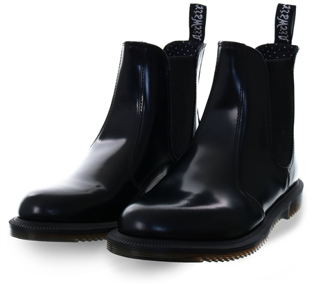 Dr Martens Black Polished Smooth Flora Leather Chelsea Boots  - Click to view a larger image