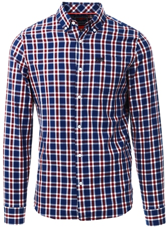 Superdry Navy Check Classic London Long Sleeved Shirt  - Click to view a larger image
