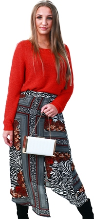 Ax Paris Multi Printed Midi Skirt  - Click to view a larger image