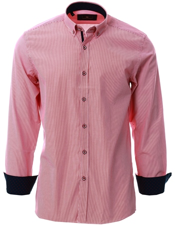 Ottomoda Red Stripe Pattern Button Down Shirt  - Click to view a larger image