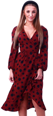 Influence Burgundy Spotted Midi Dress  - Click to view a larger image