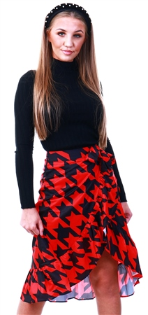 Missi Lond Red Printed Midi Skirt  - Click to view a larger image