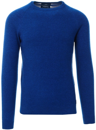 Holmes & Co Rich Indigo Marl Textured Long Sleeve Sweater  - Click to view a larger image