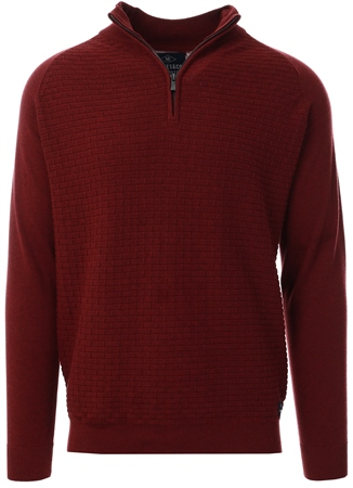 Holmes & Co Burgundy Halton 1/4 Zip Sweater  - Click to view a larger image