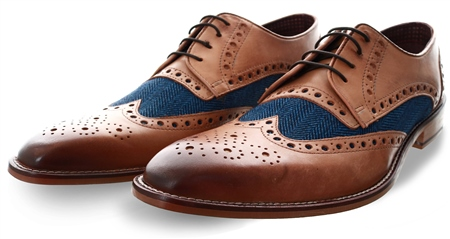 London Brogue Tan William Derby Tweed Shoe  - Click to view a larger image