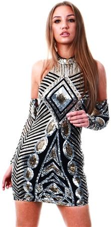 Parisian Black Sequin Dress  - Click to view a larger image