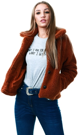 Only Caramel Cafe Emily Teddy Jacket  - Click to view a larger image