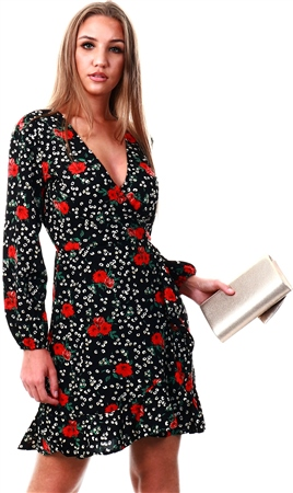 Ax Paris Black Floral Frill Hem Dress  - Click to view a larger image