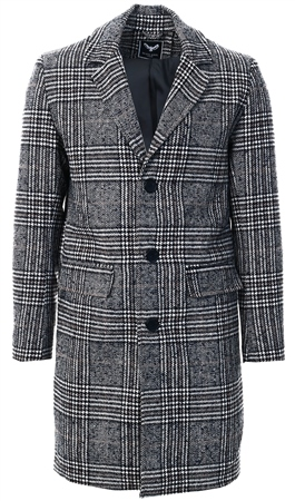 Brave Soul Grey Augustine Check Longline Jacket  - Click to view a larger image