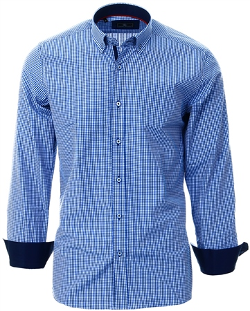 Ottomoda Blue Gingham Check Pattern Shirt  - Click to view a larger image
