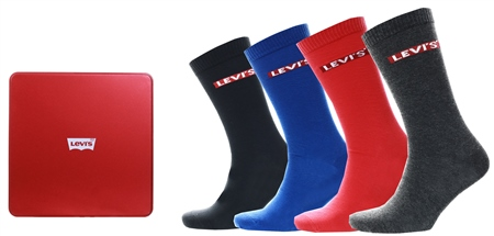 Levi's Mixed Colors - Multi Colour ® Socks- Giftbox Regular Cut (4 Pair)  - Click to view a larger image