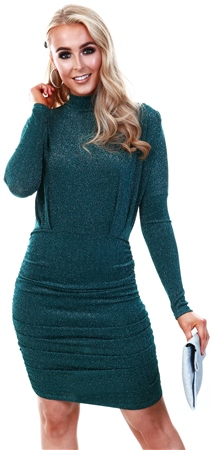 Ax Paris Teal High Neck Ruched Sparkle Dress  - Click to view a larger image