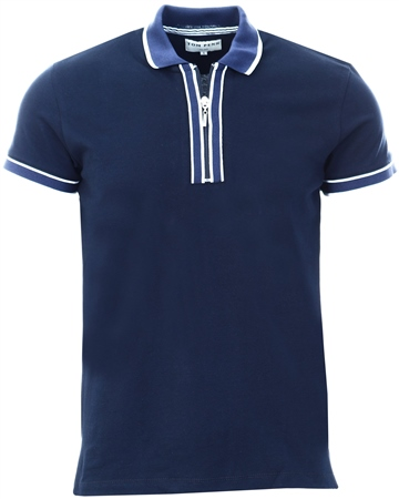Ottomoda Navy Short Sleeve Polo Shirt  - Click to view a larger image