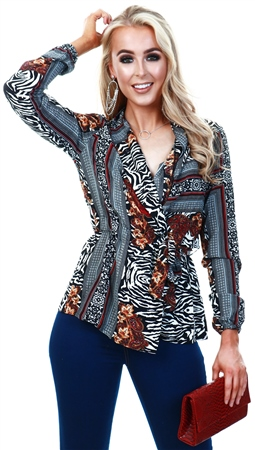 Ax Paris Printed Pattern Wrap Top  - Click to view a larger image