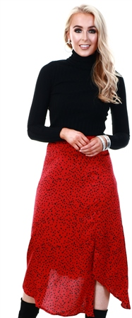 Ax Paris Red Spotty Asymmetric Midi Skirt  - Click to view a larger image