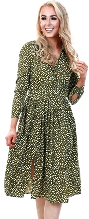 Influence Green Spot Midi Shirt Dress With Pleated Skirt And Split  - Click to view a larger image