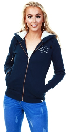 Superdry Navy Applique Zip Hoodie  - Click to view a larger image