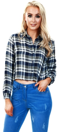 Only Cloud Dancer / Blue Checked Shirt  - Click to view a larger image