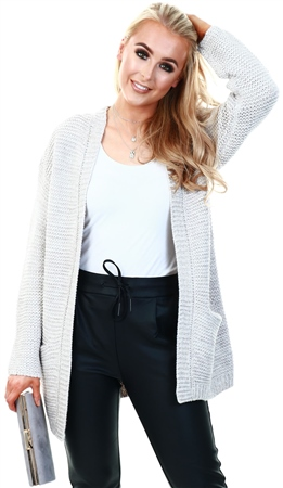 Veromoda Grey / Light Grey Melange Open Front Knitted Cardigan  - Click to view a larger image