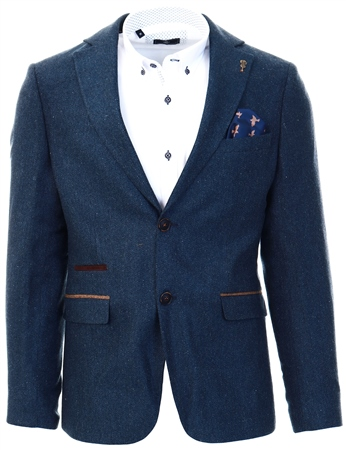Fratelli Navy Tweed Textured Blazer  - Click to view a larger image