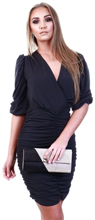 Ax Paris Black Ruched Bodycon Dress With Cut Out Back  - Click to view a larger image