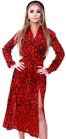 Ax Paris Red Snake Print Long Sleeve Shirt Midi Dress  - Click to view a larger image