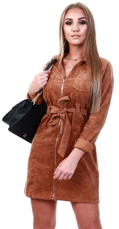 Qed Tan Corduroy Zip Up Short Dress  - Click to view a larger image