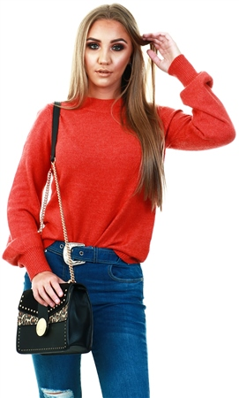 Vila Red / Ketchup Balloon Sleeved Knitted Pullover  - Click to view a larger image