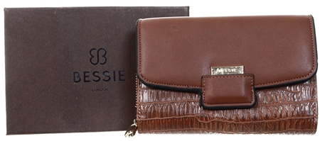 Bessie Tan Lizard Effect Flap Over Purse  - Click to view a larger image