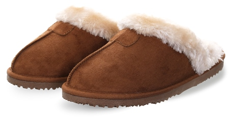 Ella Chestnut Jill Slip On Fur Suede Slipper  - Click to view a larger image
