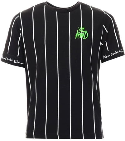 Kings Will Dream Black / White / Neon Junior Jifton Pinstripe T-Shirt  - Click to view a larger image
