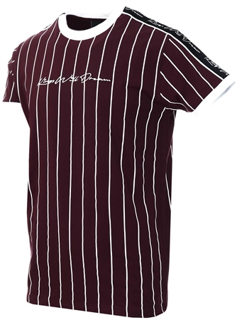 Kings Will Dream Burgundy / White / Black Rifton Pinstripe T-Shirt  - Click to view a larger image