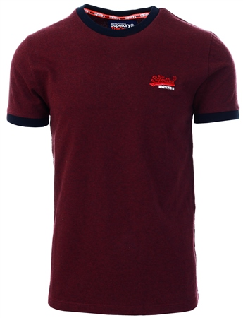 Superdry Buck Burgundy Marl Texture Orange Label Cali Ringer T-Shirt  - Click to view a larger image