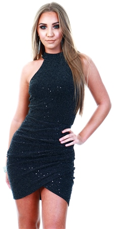 Ax Paris Black Sparkle High Neck Ruched Dress  - Click to view a larger image