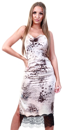 Qed Blush Pattern Cami Midi Dress  - Click to view a larger image