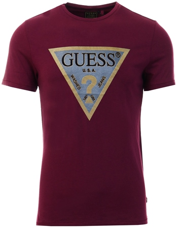 Guess Burgundy T-Shirt Logo Triangle At The Front  - Click to view a larger image