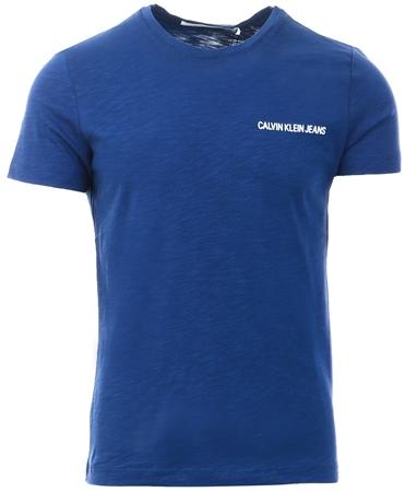 Calvin Klein Medievil Blue Slim Slub Cotton T-Shirt  - Click to view a larger image