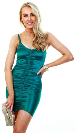 Ax Paris Green Ruched Front Satin Dress  - Click to view a larger image