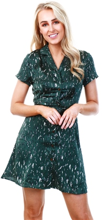 Qed Green Pattern Print Short Dress  - Click to view a larger image