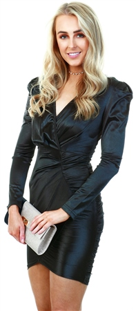 Ax Paris Black Ruched Bodycon Wrap Dress  - Click to view a larger image