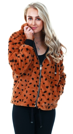 Urban Bliss Brown Animal Spot Faux Fur Hood Coat  - Click to view a larger image