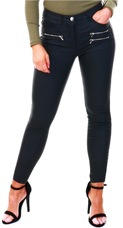 Parisian Black Coated High Waist Zip Detail Skinny Jeans  - Click to view a larger image